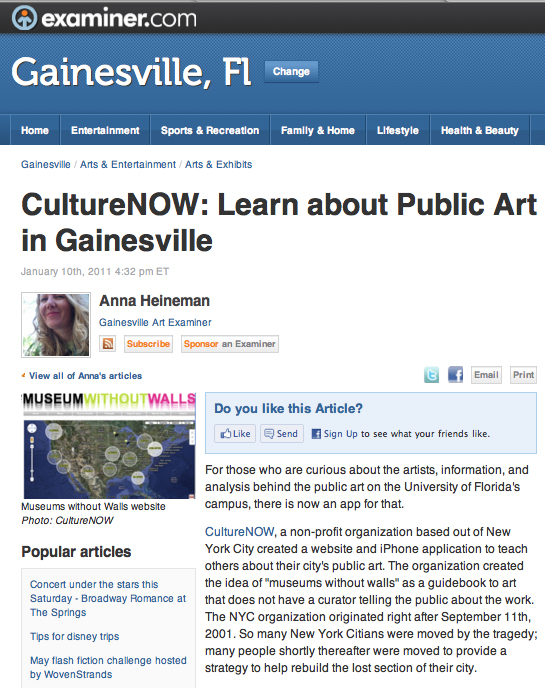 Gainesville Art Examiner article