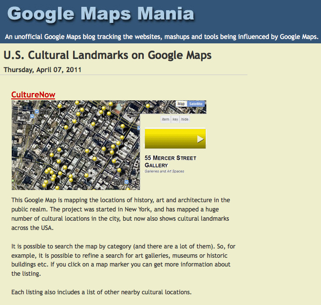 Google Maps Mania article