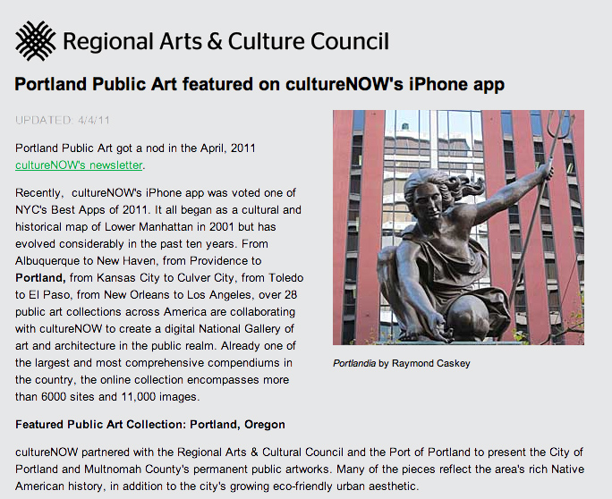 Regional Arts & Cultural Council Article